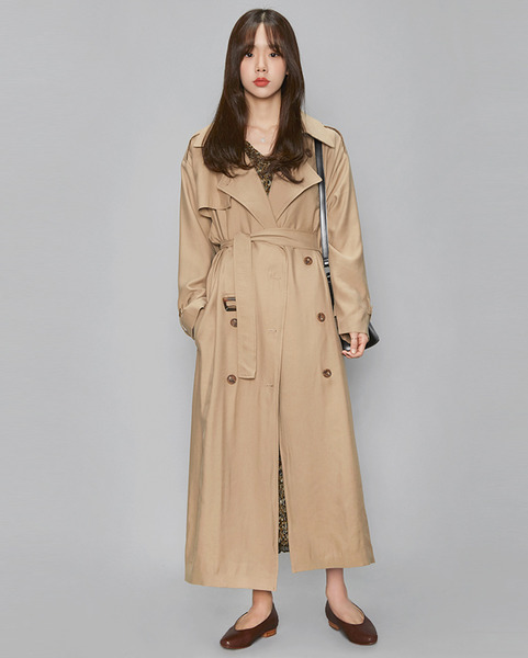maxi long square belt trench coat (3 colors)