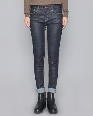 blue coating denim skinny