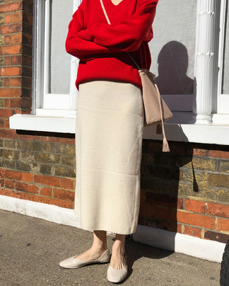 warm long wool knit skirt