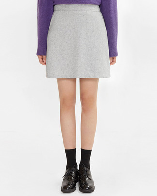 smooth wool mini skirt (s, m)