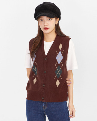 argyle button vest
