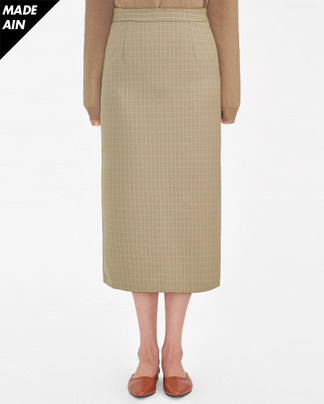FRESH A simple check long skirt (s, m)
