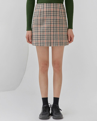 girlish check mini skirt (s, m)
