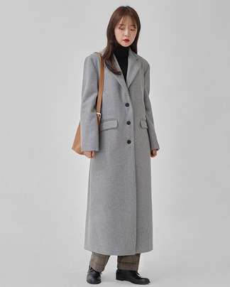 hazel single wool long coat