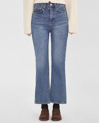 plain boots cut denim pants (s, m)