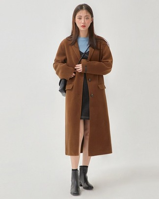 maple long handmade coat (wool50%)