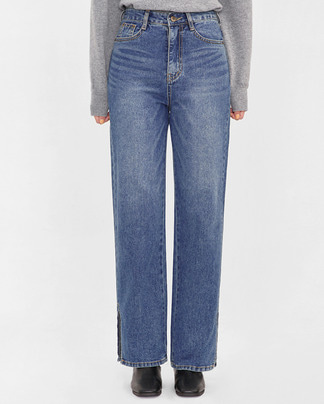 ray slit detail long denim pants (s-xl)