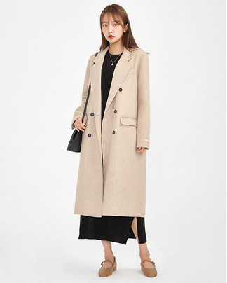 double handmade long coat (wool75%)