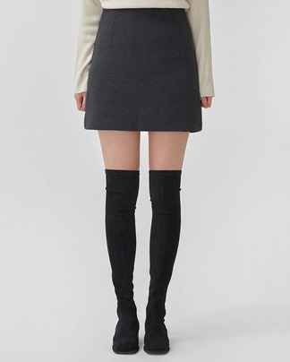 simple mini wool skirt (s, m)