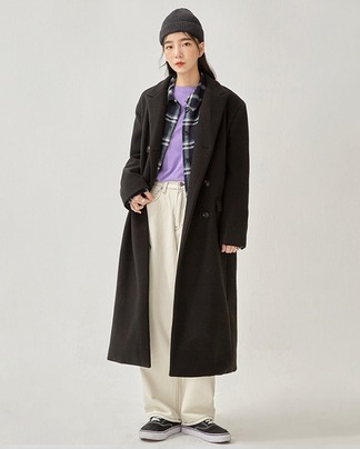 mode double long coat