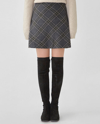 diagonal check mini skirt (s, m)