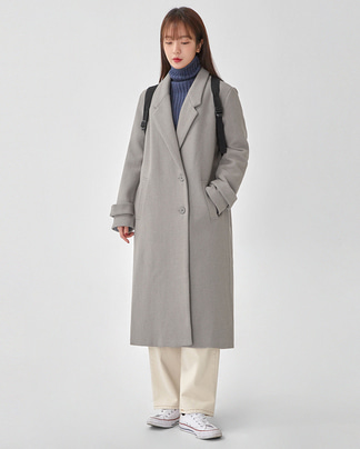 plan side button long coat