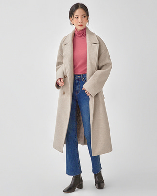 soft stitch belt wool coat