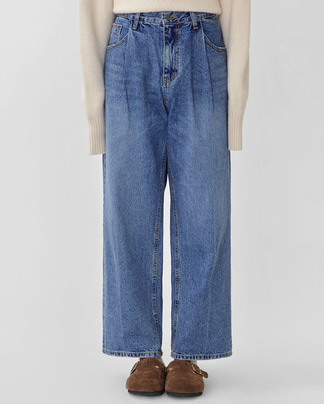 pintuck mannish denim pants (s, m)