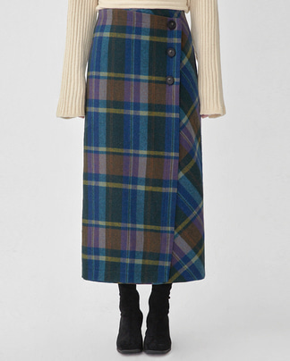 viva button wool check skirt (s, m)
