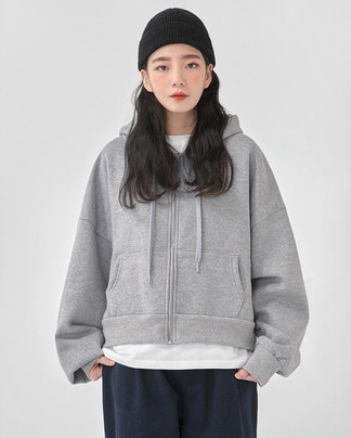 hug crop hood zip-up