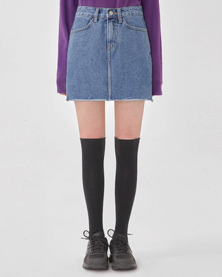 leader cutting denim skirt (s, m, l)