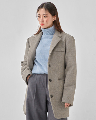cinnamon wool long jacket