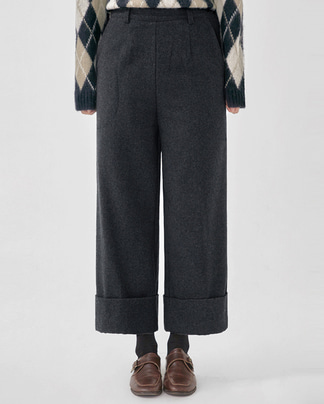 fold tail edge wide pants (s, m)