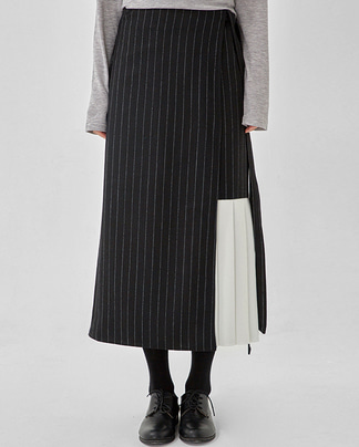 around pleats point wrap skirt